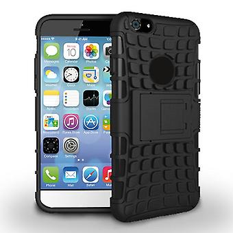 Capucha desmontable en caucho y plástico TPU con soporte para iPhone 6 4.7 (negro)