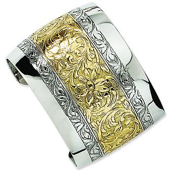 Gold-tone Polished and Silver-tone Floral Cuff Bracelet