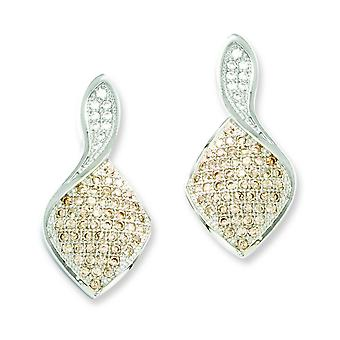 Sterling Silver and CZ Brilliant Embers Champagne And White Earrings