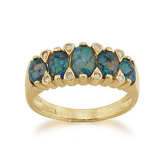 9ct Yellow Gold 1.36ct Triplet Opal & Diamond Five Stone Ring