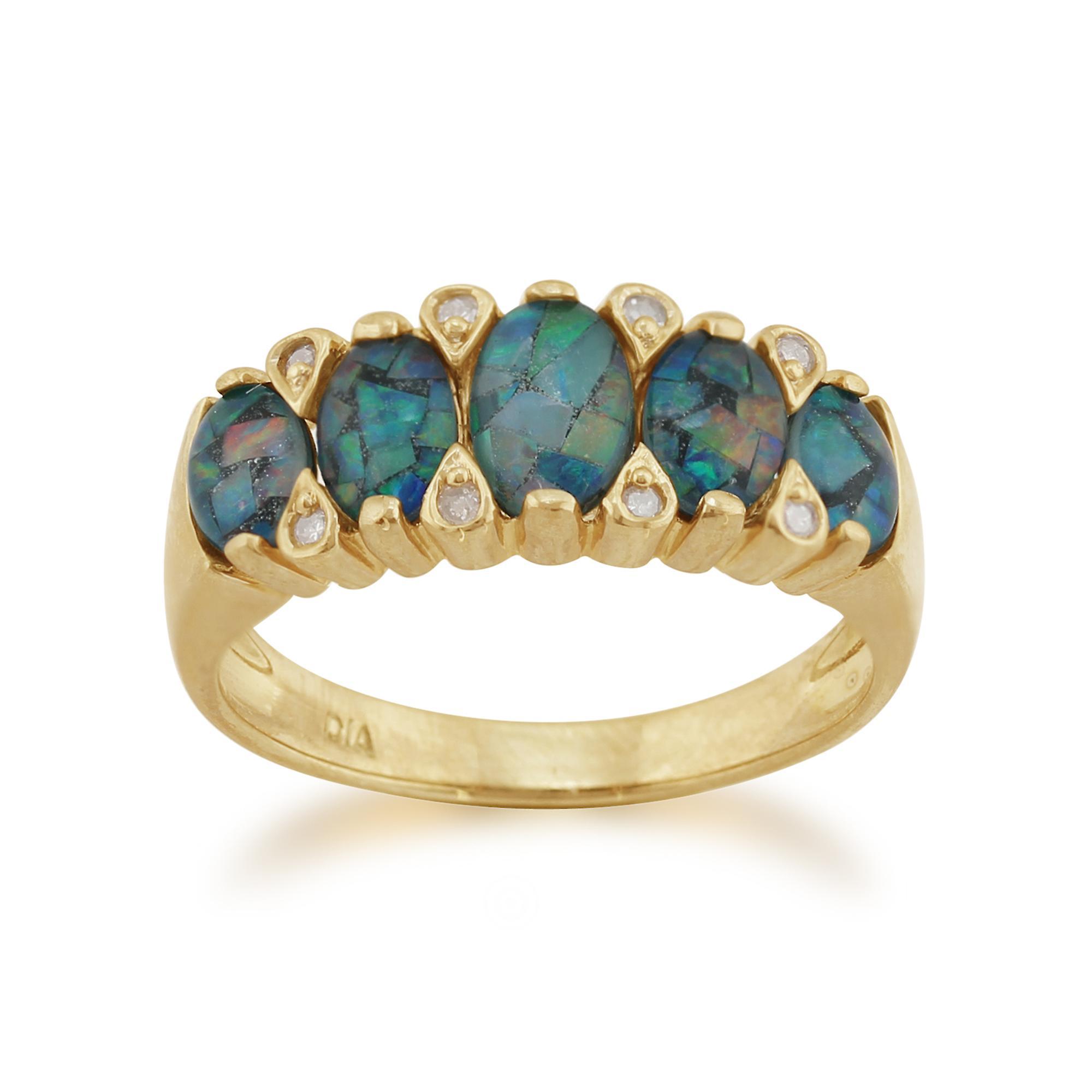 9ct or 1,36 ct opale Triplet & diahommet cinq Pierre jaune bague