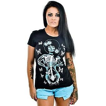 Too Fast Babydoll Butterflies Womens Black Undead Tshirt