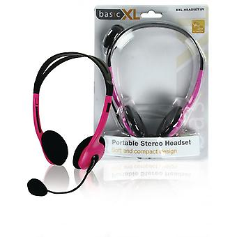 basicXL Portable stereo-headset pink