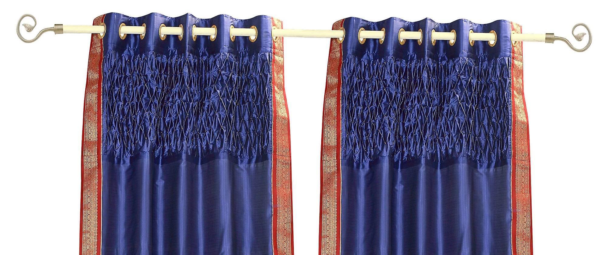 Sari Panneau Sheer Main Rideau Perlé Oeillet Bleu Supérieur Avec De DesignPièce I6vYmbfy7g