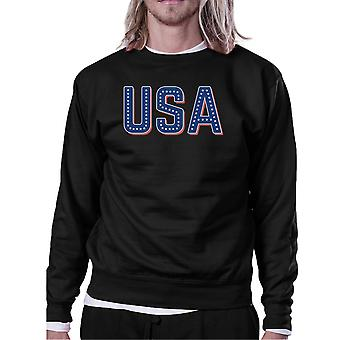 USA With Stars Unisex Black Pullover Sweatshirt For 4th Of July