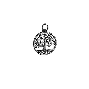 9ct White Gold 20mm round 1.5mm thick Tree of Life Pendant or Charm