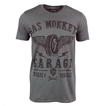 Gas Monkey Garage Mens Gas Monkey Garage Garage Tyre T Shirt Grey