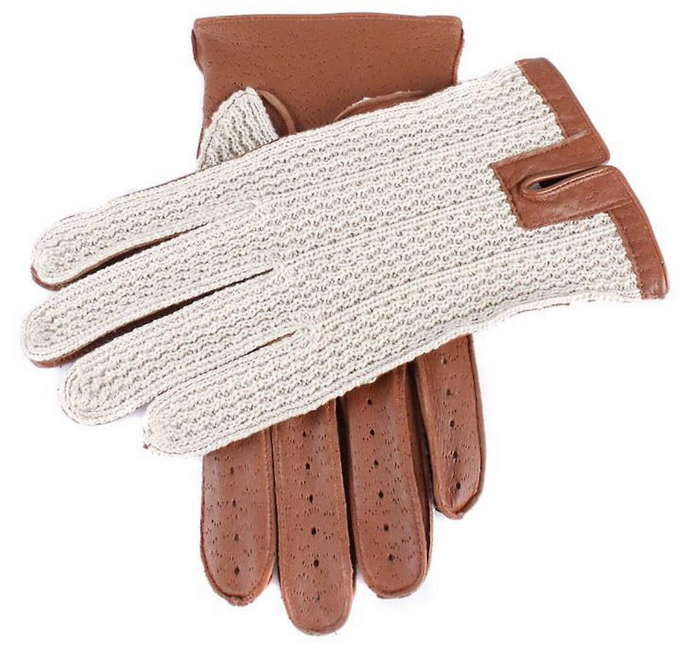 Dents Cotton Crochet Back Driving Gloves - Cognac