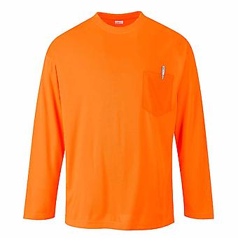 Portwest - Day-Vis Lightweight Crew Neck Long Sleeve T-Shirt With Check Pocket
