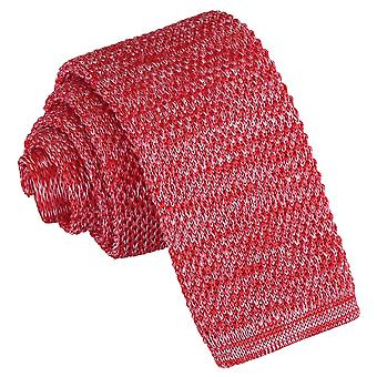 Red Melange Plain Speckled Knitted Skinny Tie