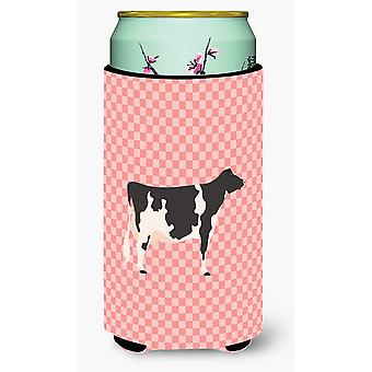 Holstein Cow Pink Check Tall Boy Beverage Insulator Hugger
