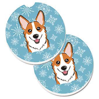 Snowflake Red Corgi Set of 2 Cup Holder Car Coasters