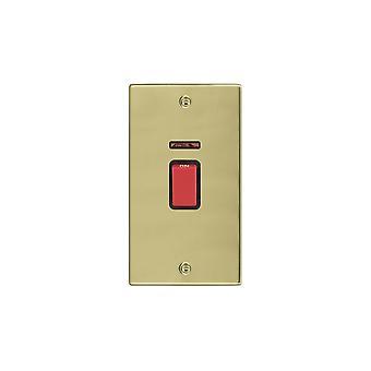 Hamilton Litestat Hartland poliert Messing 45A DP + Neon VERTIKALEN roten Rocker/BL