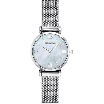 Armani Watches Ar1955 Mother Of Pearl & Silver Stainless Steel Mesh Ladies Watch