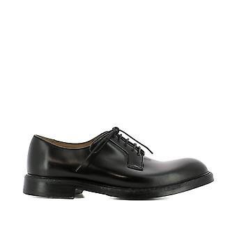 Green George men's 8007NERO black leather lace-up shoes