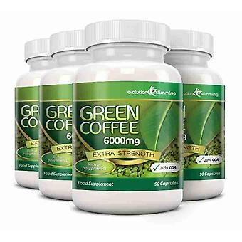 Green Coffee Bean Pure 6000mg with 20% CGA - 360 Capsules (4 Months) - Fat Burner and Antioxidant - Evolution Slimming