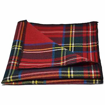 Traditional Red Tartan Check Pocket Square, Handkerchief, Stewart Tartan