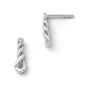925 Sterling Silver Polished Twisted Style Diamond Drop Earrings