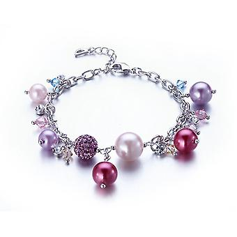 Charm's Pearls bracelet, adorned with Swarovksi Elements Rose Crystal and Rhodium Plate