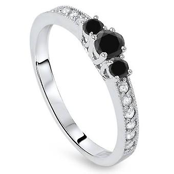 1/2ct Black & White Diamond 3 Stone Ring 14K White Gold