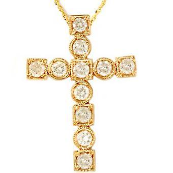 Croix de diamant religieux de 1ct or jaune 14K pendentif