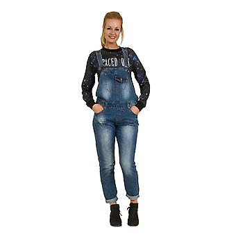 Womens Denim Dungarees - Loose Fit Bib Overalls Relaxed fit