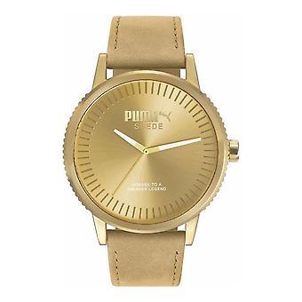 PUMA reloj pulsera reloj unisex monocromo color beige gamuza PU104101009