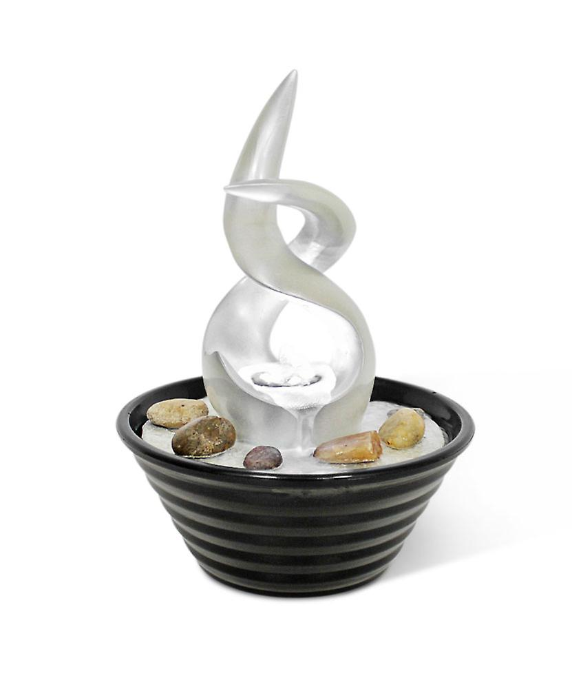 Design LED room table fountain FoTwist mother of Pearl & Black 10750