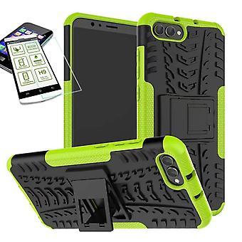 Híbrido caso 2 pedaço verde para Huawei honra ver os 10 / V10 + vidro temperado saco capa case