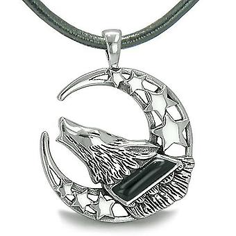 Howling Courage Wolf Moon Stars Amulet Positive Earth Energy Black Onyx Protection Pendant Necklace