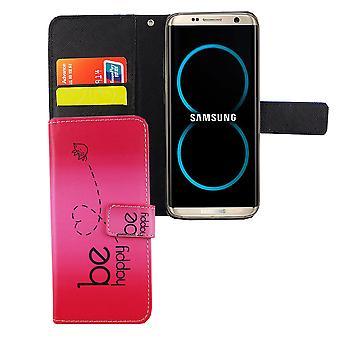 Handyhülle Tasche für Handy Samsung Galaxy S8 Be Happy Pink