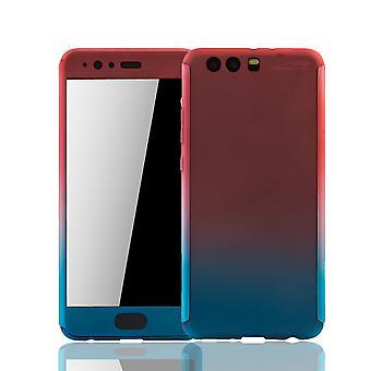 Huawei P10 plus mobiltelefon fall skyddande fall Fullcover tank skyddsglas rosa / blå