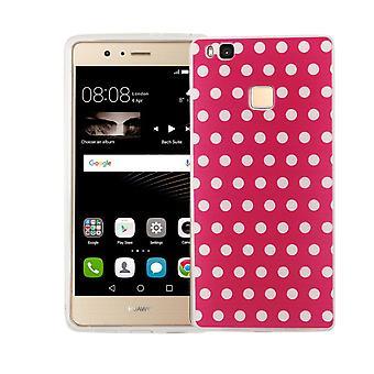 Handy Hülle für Huawei P9 Lite Cover Case Schutz Tasche Motiv Slim TPU + Panzer Schutz Glas 9H Polka Dot Pink