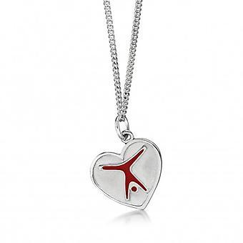 Kette mit Anhänger 'Turnfigur im Herz', Silber