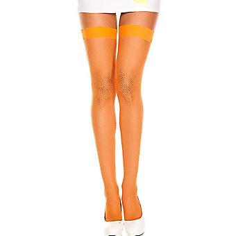 Kousen en been accessoires oranje visnet kous met kant Kousenband