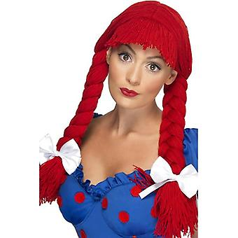 Long Red Plaited Wig, Rag Doll Wig With Fringe And Bows, Fancy Dress