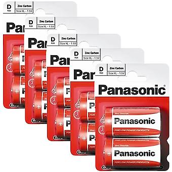 10 x Panasonic R20R-2BP D Size Batteries