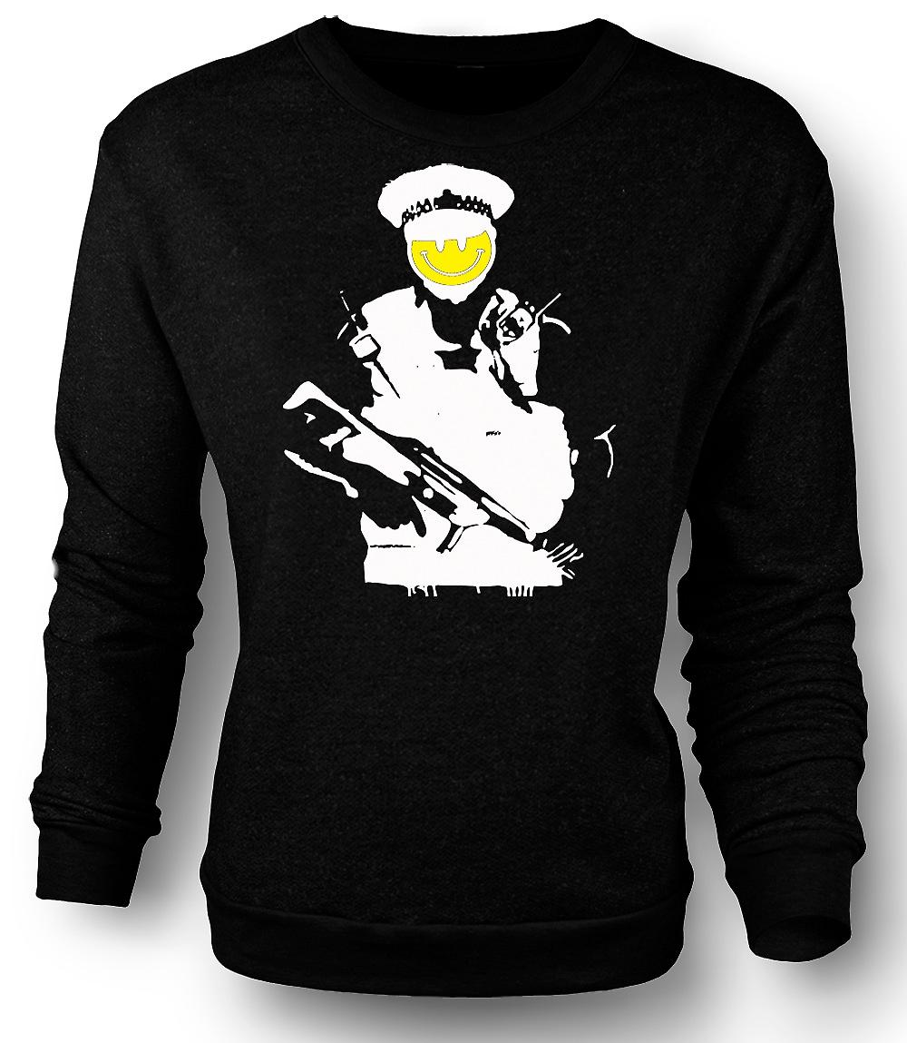 Mens Sweatshirt Banksy - Happy Smiley - Copper - Graffiti