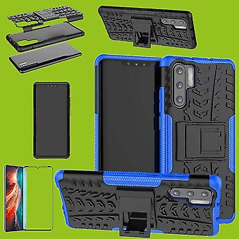 Für Huawei P30 Pro Hybrid Case 2teilig Blau + 0,3 mm 4D H9 Full Curved Hartglas Tasche Hülle Cover Hülle