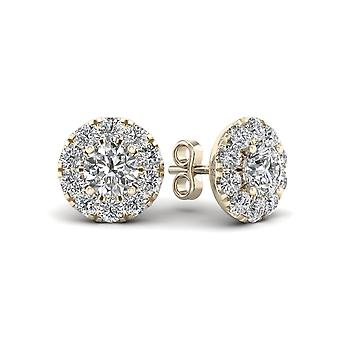 IGI Certified 0.75 Ct Natural Diamond Halo Stud Earrings in 10k Yellow Gold
