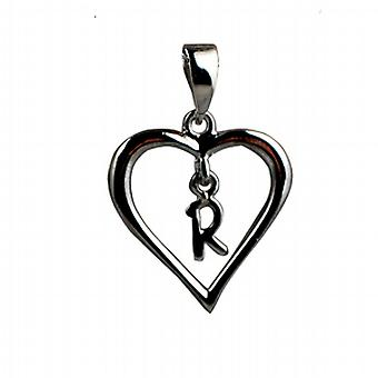 Zilveren hart hanger met een hangende initiële R