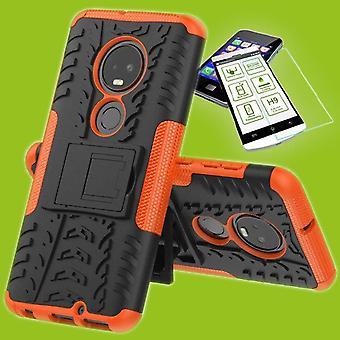 Für Motorola Moto G7 / G7 Plus Hybrid Case 2teilig Orange + Hartglas Tasche Hülle Cover Hülle