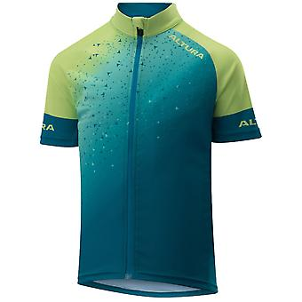 Altura Teal-Yellow 2019 Icon Kids Short Sleeved Cycling Jersey