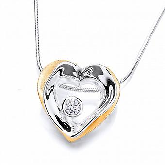 "Cavendish French Modern Gold Vermeil and Silver Heart Drop Pendant with 16 - 18"" Silver Chain"