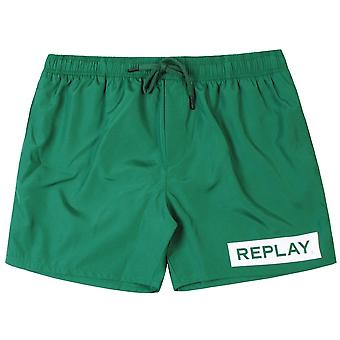 Replay Logo Swim Shorts Green