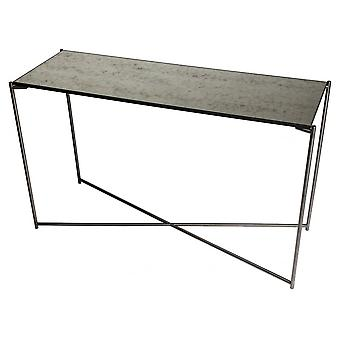 Gillmore Space Antiqued Glass Large Console Table With Gun Metal Cross Base