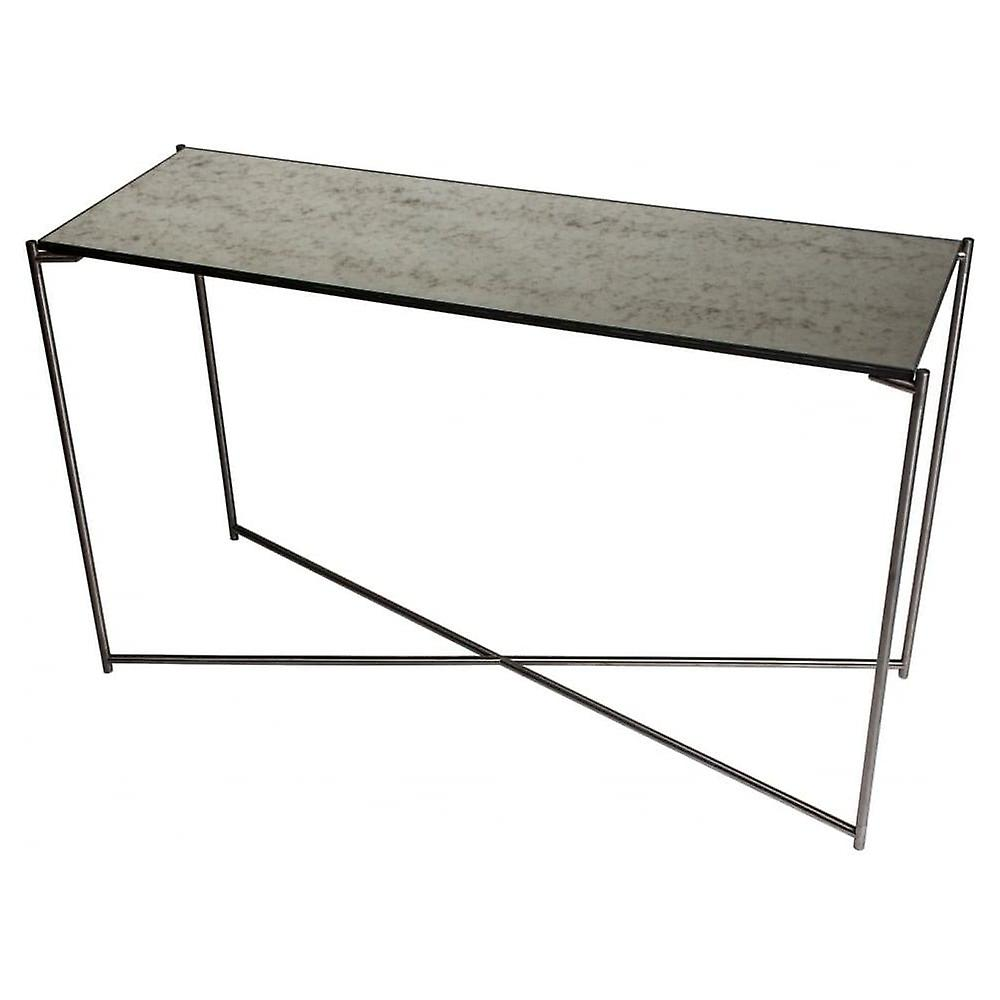 Gillmore Space Antiqued Glass grand Console Table With Gun Metal Cross Base