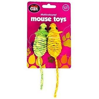 Multi Coloured Mouse Toys - Green/Orange