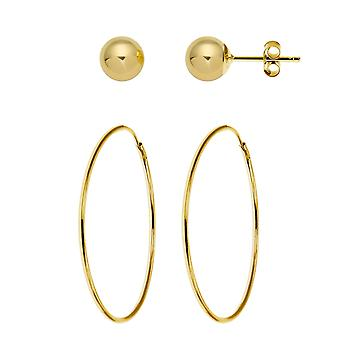 De Olivia collectie legde, heren, Children's 9ct geel goud 22mm hoepel Tube Sleeper + 9ct geel goud 5mm bal Stud Oorbellen-1 paar van elk