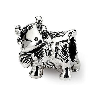 925 Sterling Argent Poli Antique finition Reflections Dairy Cow Bead Charm